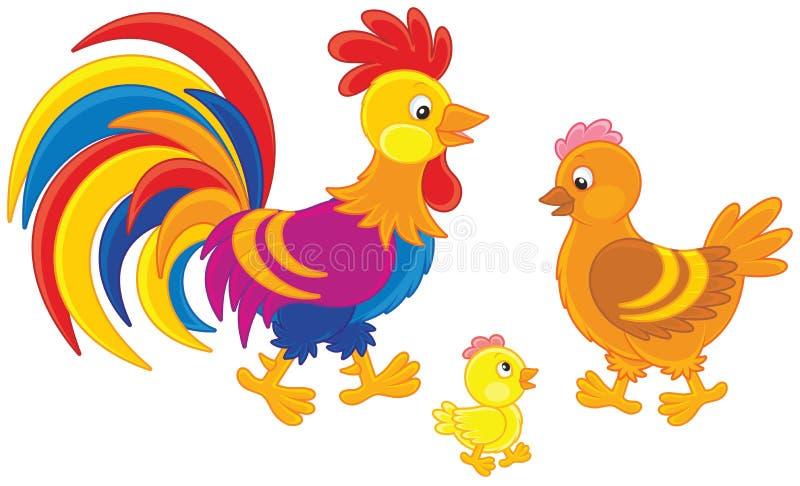 雄鸡、母鸡和小鸡 向量例证