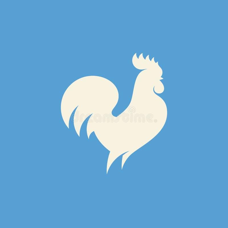雄鸡剪影 现代平的传染媒介商标模板或象 库存例证