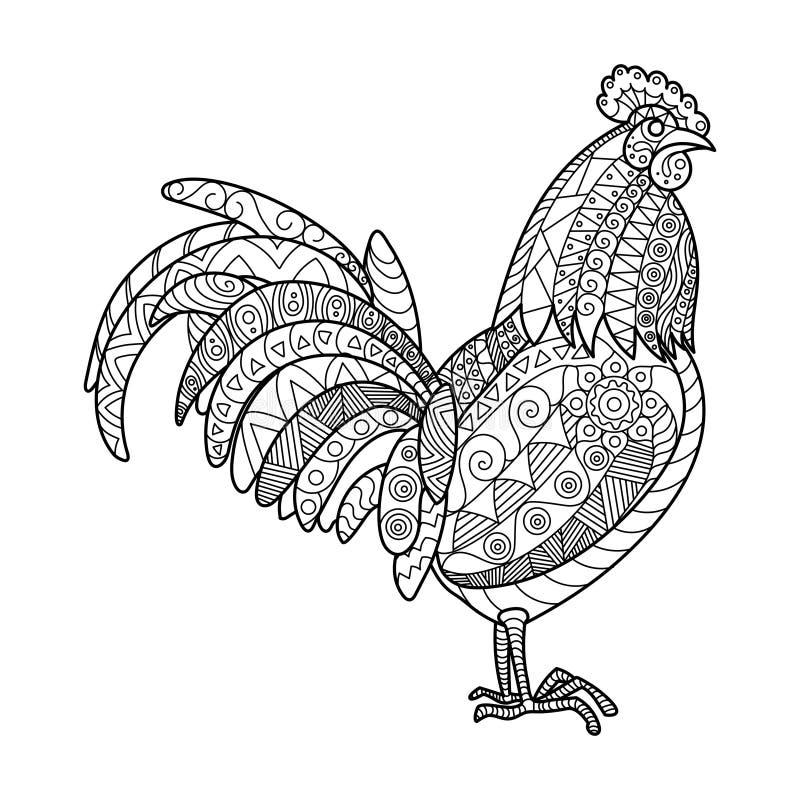 雄鸡成人传染媒介的彩图 库存例证