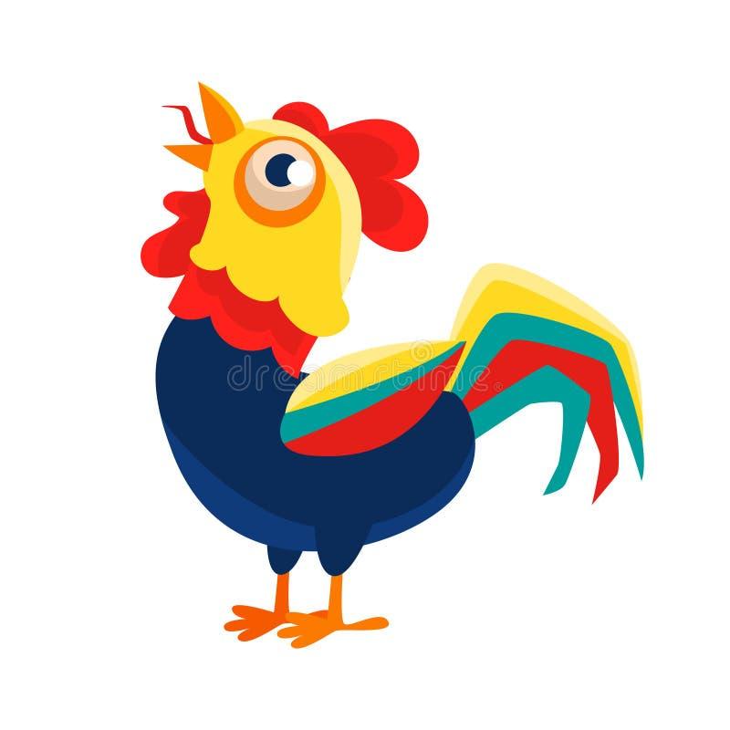 雄鸡打鸣的漫画人物,代表新年的中国黄道带标志公鸡2017年 向量例证