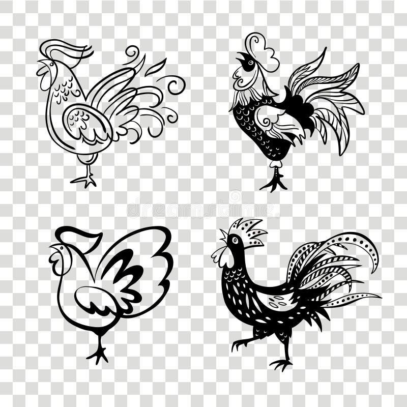 雄鸡用不同的姿势 传染媒介现出轮廓雄鸡 手d 库存例证
