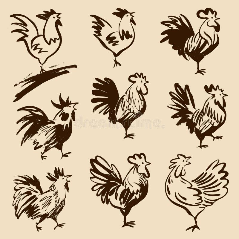 雄鸡用不同的姿势 传染媒介现出轮廓雄鸡 皇族释放例证