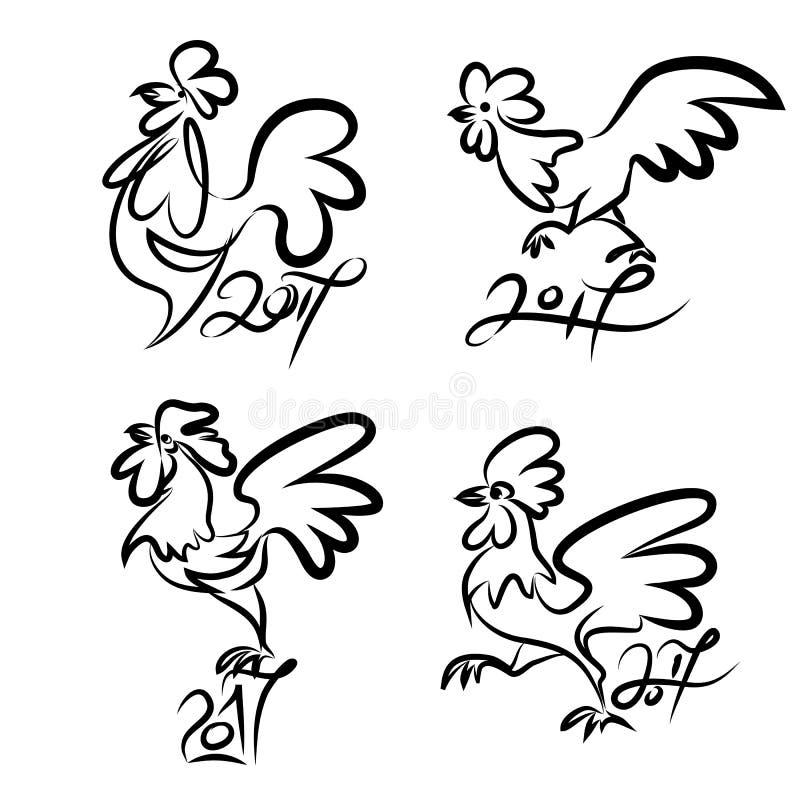 雄鸡集合逗人喜爱的手拉的字符  皇族释放例证