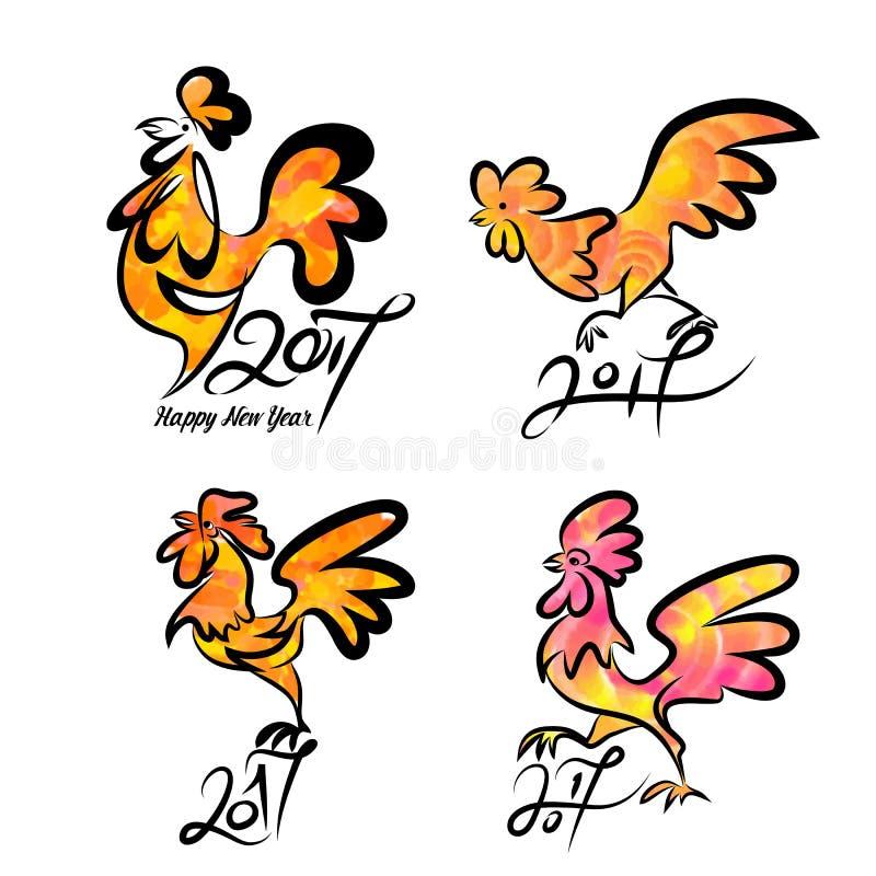 雄鸡集合逗人喜爱的手拉的字符  库存例证