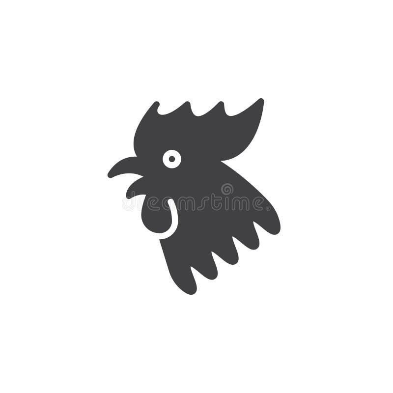 雄鸡2017中国人黄道带象传染媒介,被填装的平的标志,坚实 库存例证