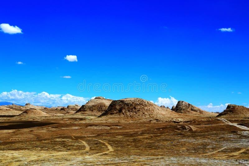 雅丹地形和沙漠风景在青藏高原 库存照片