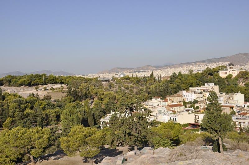 雅典全景从Areopagus小山的在希腊 免版税库存图片