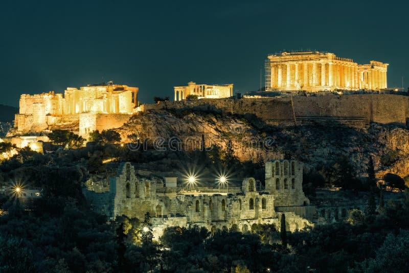雅典卫城,希腊的夜视图 库存照片