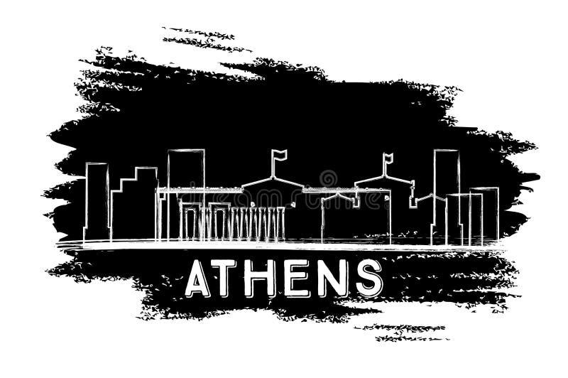 雅典地平线剪影 手拉的草图 库存例证