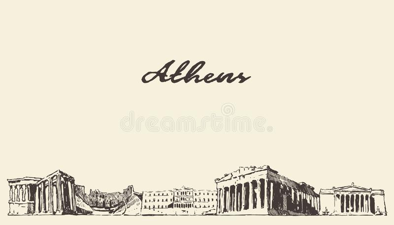 雅典地平线希腊传染媒介城市拉长的剪影 皇族释放例证