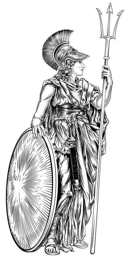 神话希腊女神拿着三叉戟矛和盾的雅典娜的例证