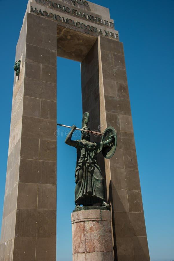 雅典娜雕象在雷焦卡拉布里亚,意大利 库存图片