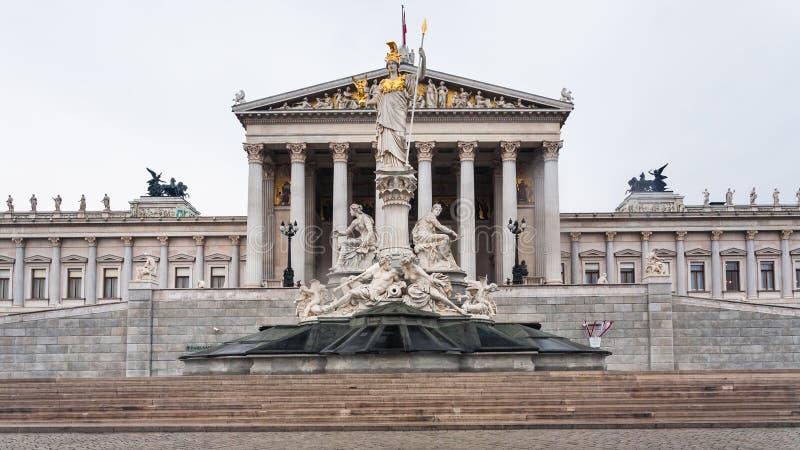 雅典娜Pallas正面图在维也纳市 免版税库存照片