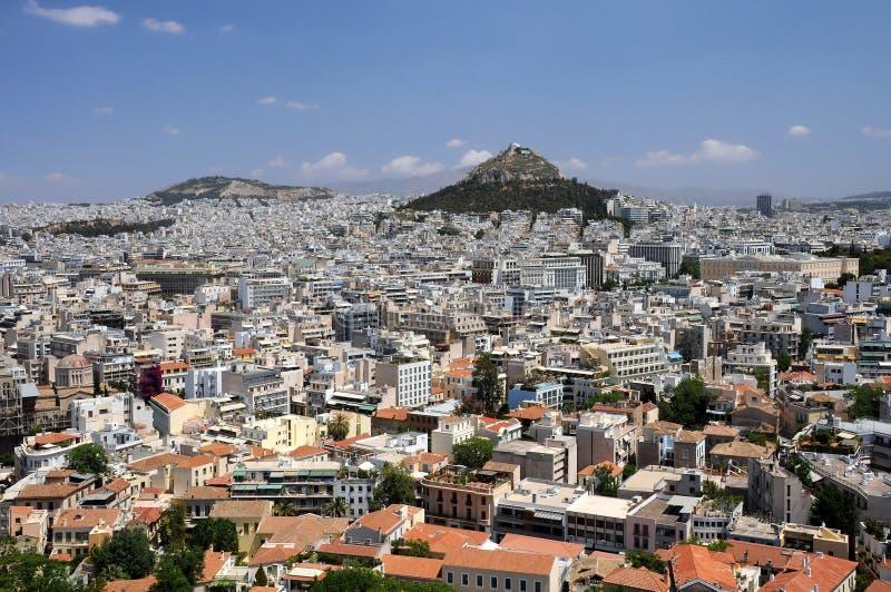 雅典小山lycabettus视图 免版税库存图片