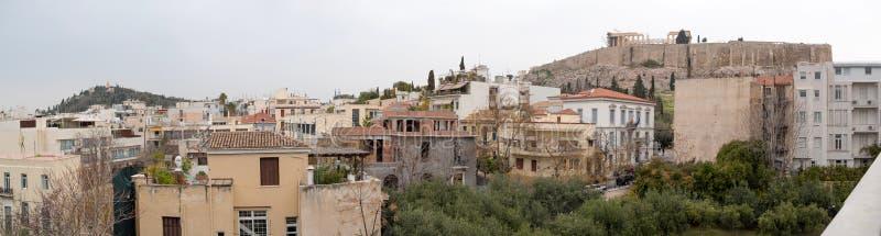 雅典市全景有帕台农神庙的 库存图片