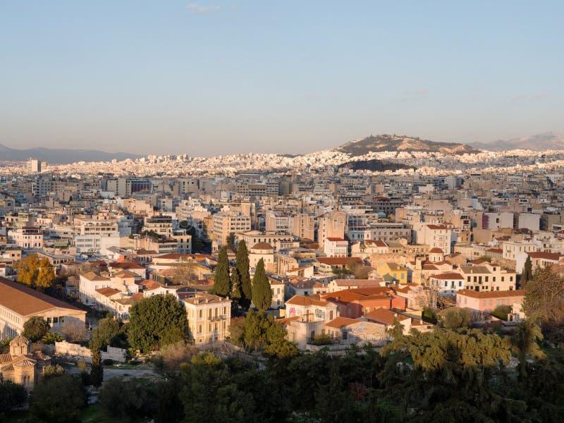 雅典市全景  免版税图库摄影