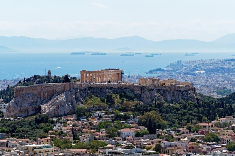 雅典市和上城看法从吕卡维多斯,希腊 库存照片