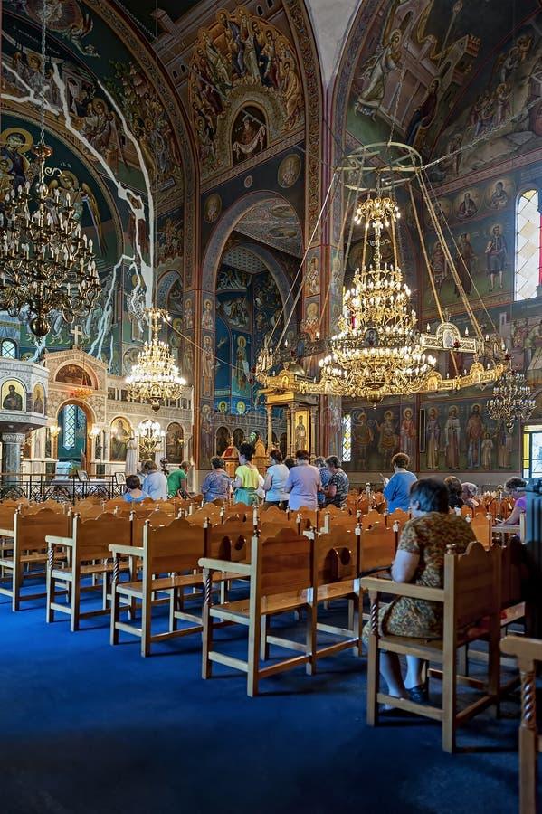 雅典希腊三位一体教会Kerameikos内部在雅典,希腊 免版税库存照片