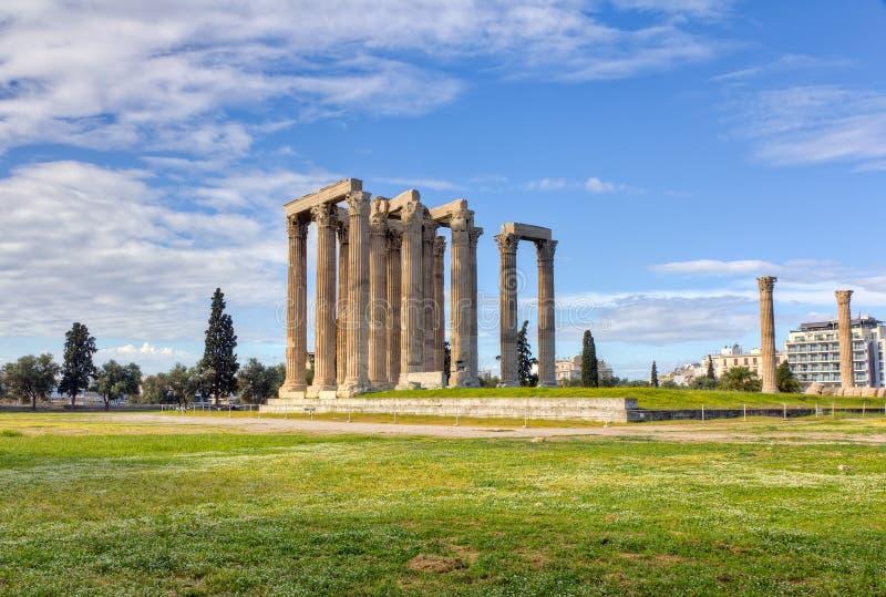 雅典希腊奥林山寺庙宙斯 免版税库存图片