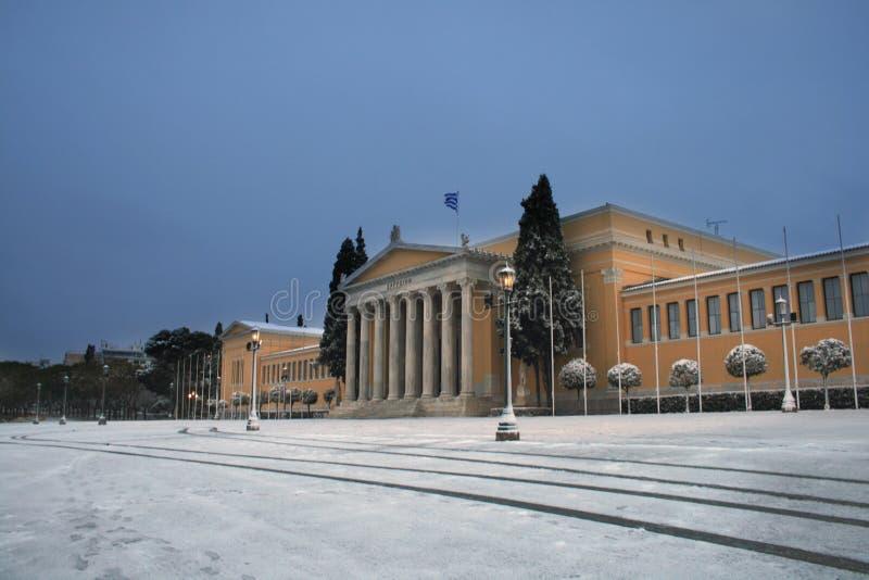 雅典希腊雪风暴 库存图片