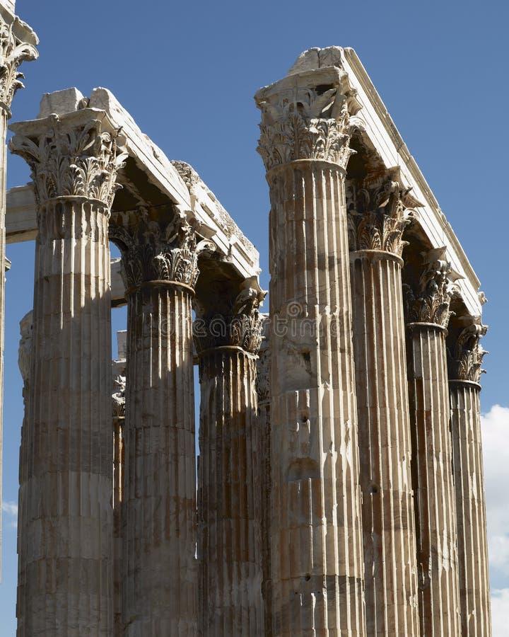 雅典希腊,奥林山宙斯寺庙专栏 免版税库存照片