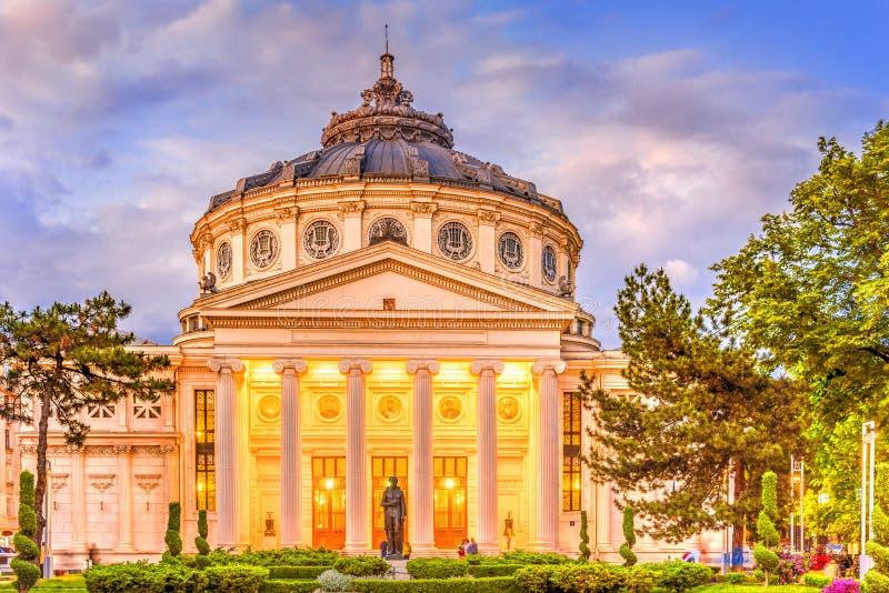 雅典庙宇在布加勒斯特在蓝色小时 免版税库存照片