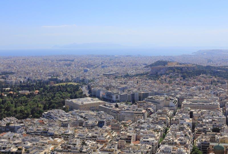雅典看法从Lykavittos小山,希腊的 免版税图库摄影
