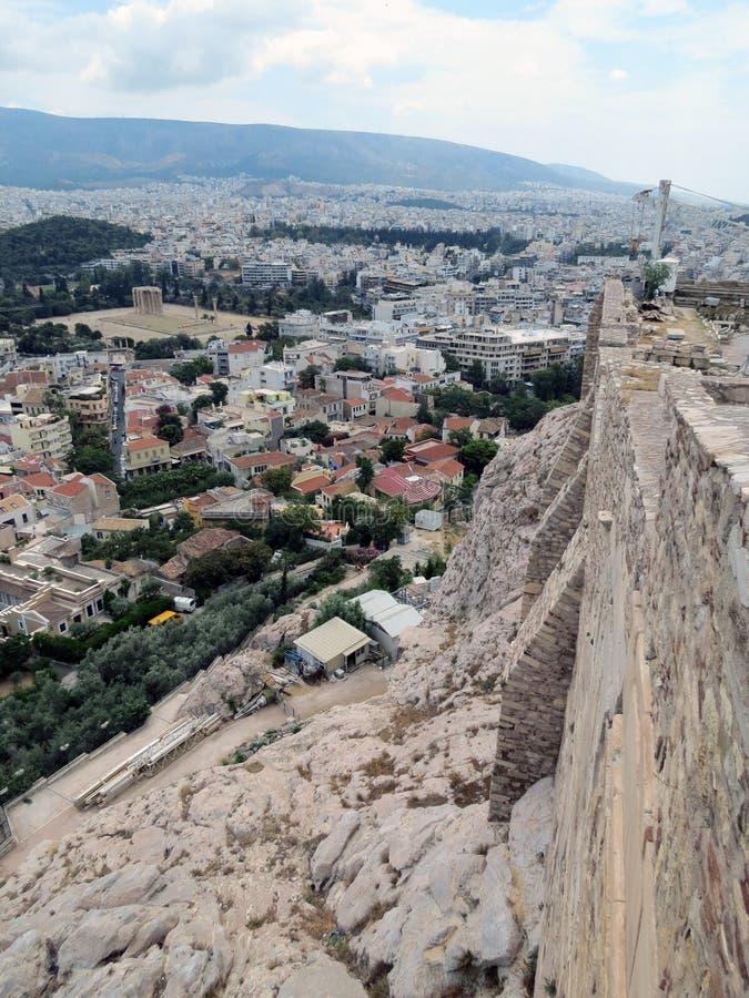 雅典视图惊人全景在好天气的 库存照片