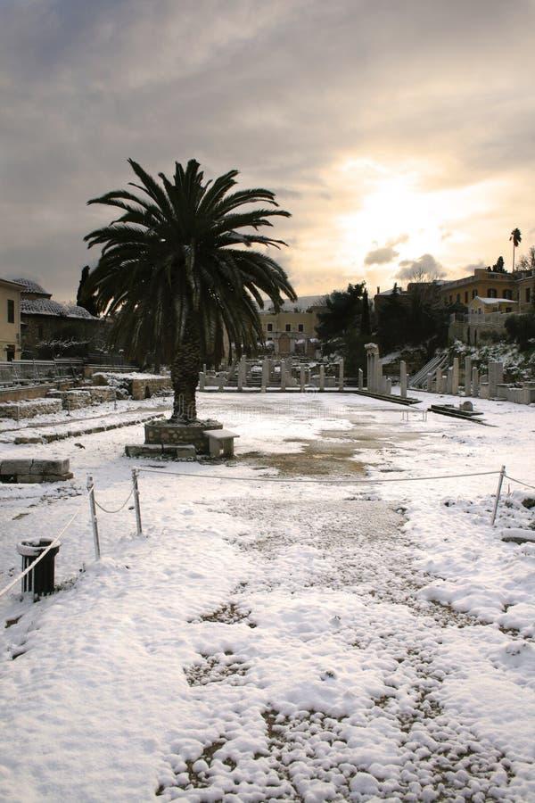 雅典论坛希腊罗马雪 免版税库存图片