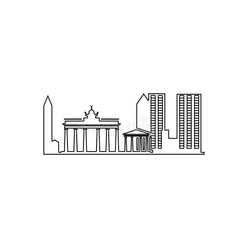 雅典象都市风景  都市风景的元素流动概念和网应用程序象的 概述,网站设计的稀薄的线象 向量例证