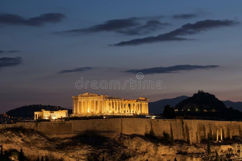 雅典黎明帕台农神庙 库存图片