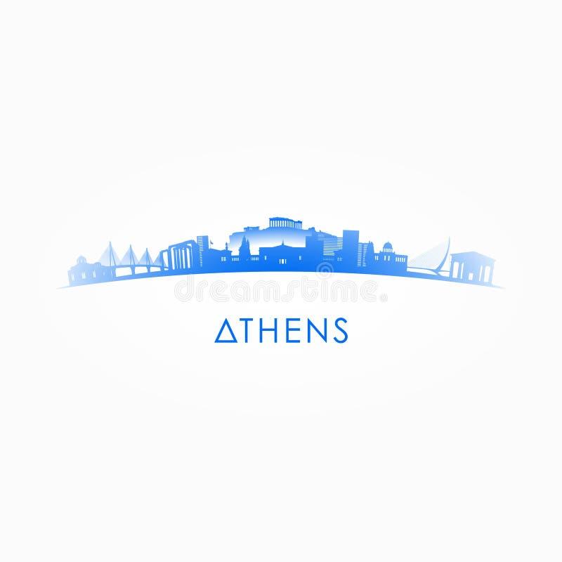 雅典,希腊地平线剪影 皇族释放例证