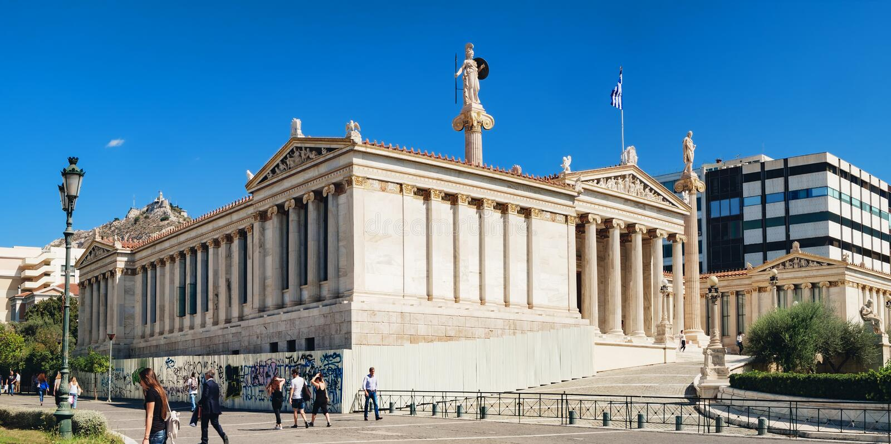 雅典,希腊学警系列主楼  免版税图库摄影