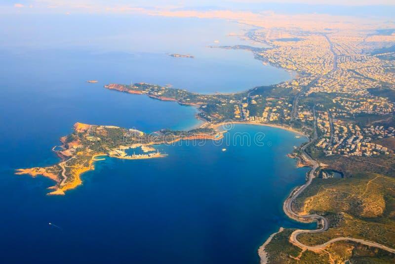 雅典,希腊鸟瞰图从飞机射击了 免版税库存图片