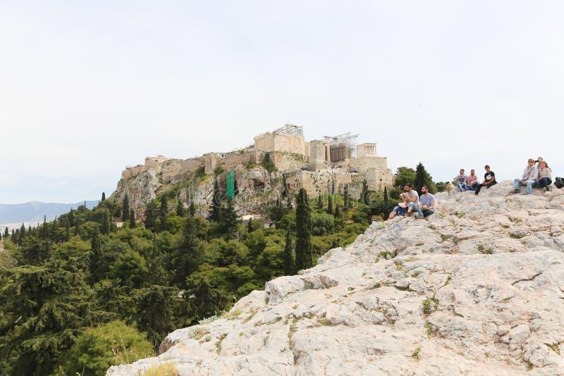 雅典,希腊,奥林山宙斯寺庙  免版税库存照片