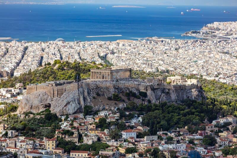 雅典,希腊 从Lycavittos小山的雅典上城和市鸟瞰图 图库摄影