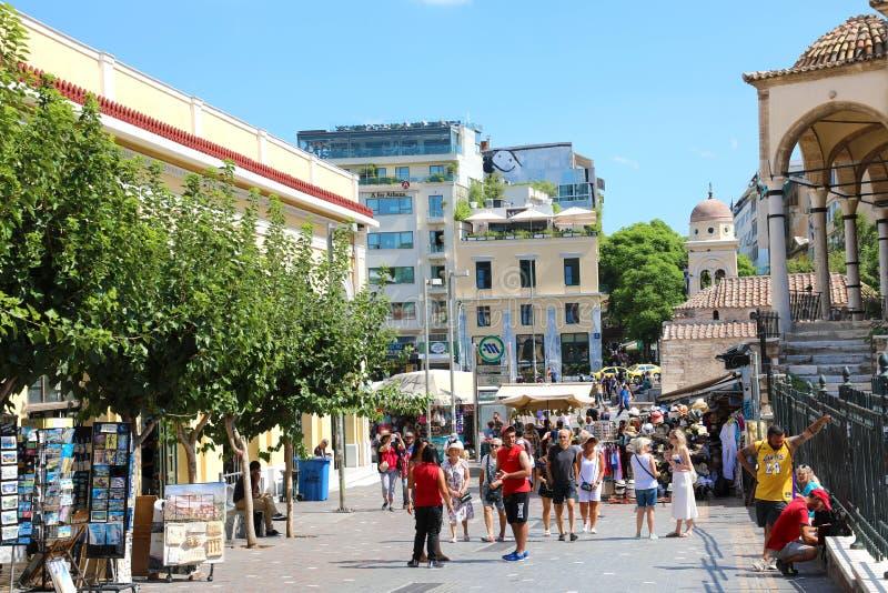 雅典,希腊- 2018年7月18日:Monastiraki广场看法在 免版税库存照片