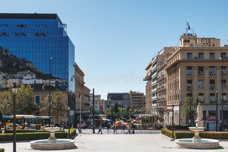 雅典,雅典,希腊方形的近的大学  免版税库存图片