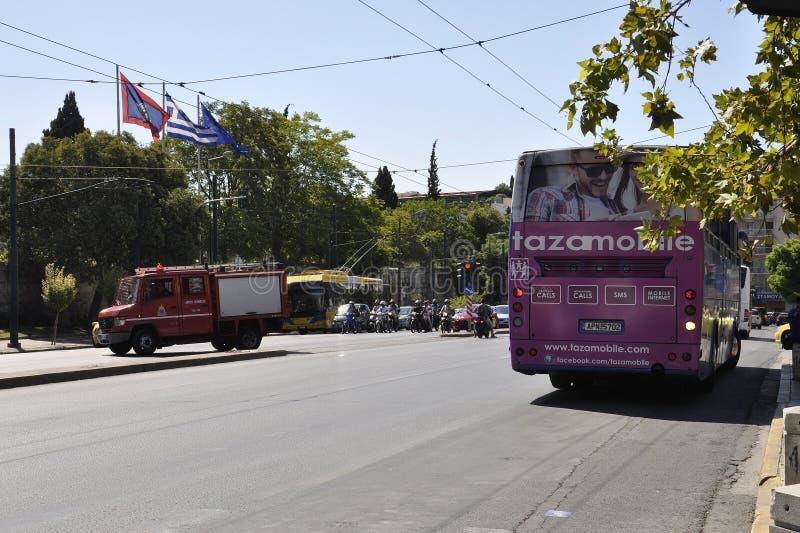 雅典, 9月6日:街道从雅典的视图交通在希腊 免版税库存照片