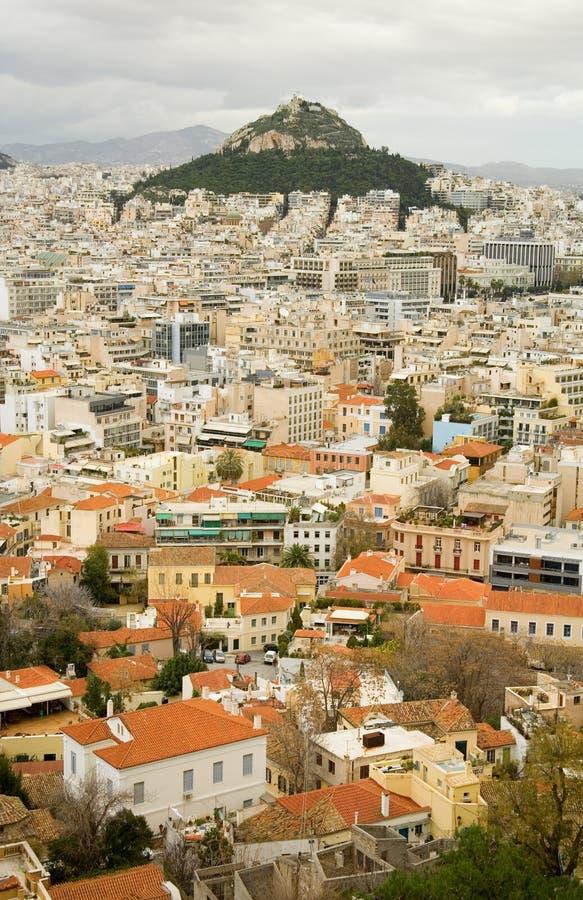 雅典lycabettus挂接视图 免版税库存图片
