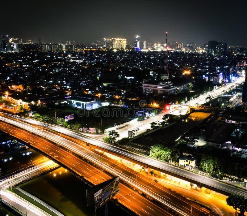 雅加达在夜 免版税库存照片
