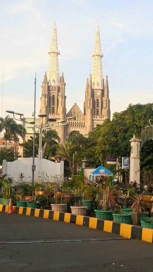 雅加达大教堂教会,雅加达-印度尼西亚 免版税库存照片