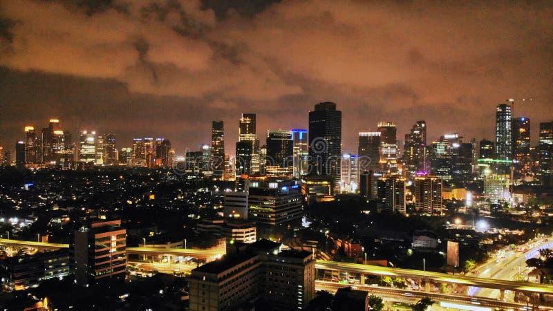 雅加达市nightscape -印度尼西亚 免版税图库摄影