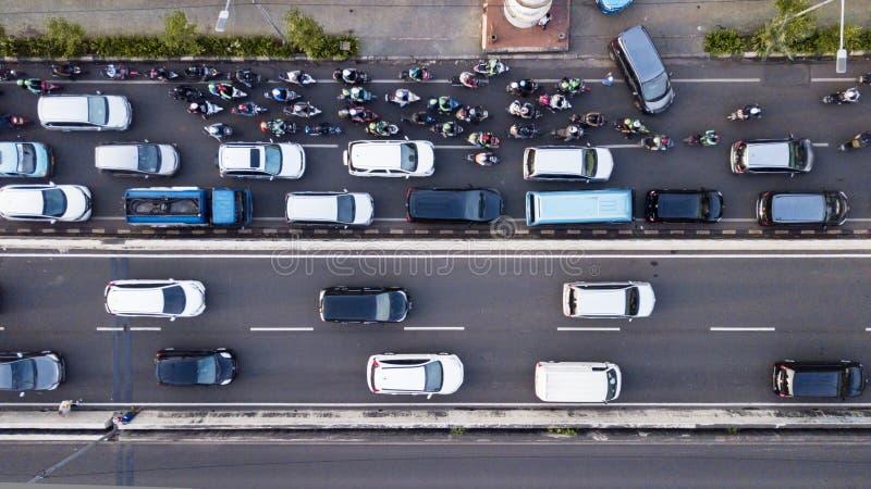 雅加达忙碌交通空中照片在高峰时间 免版税库存照片