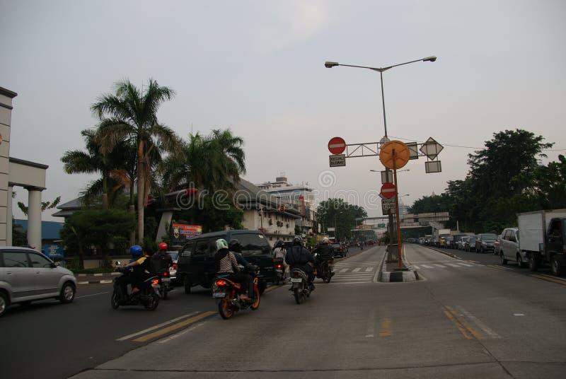 雅加达疯狂和疯狂的交通在印度尼西亚 库存照片