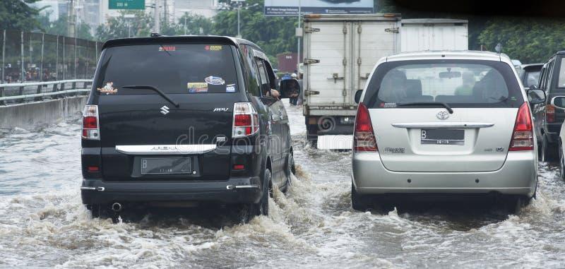 洪水雅加达 免版税库存照片