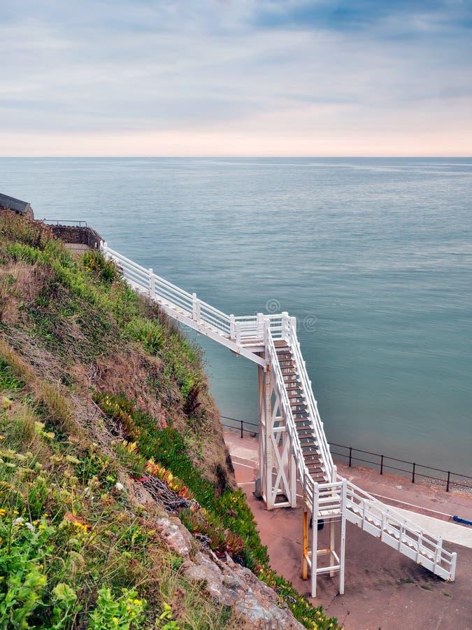 雅各布的梯子地标, Sidmouth,德文郡,英国 库存照片