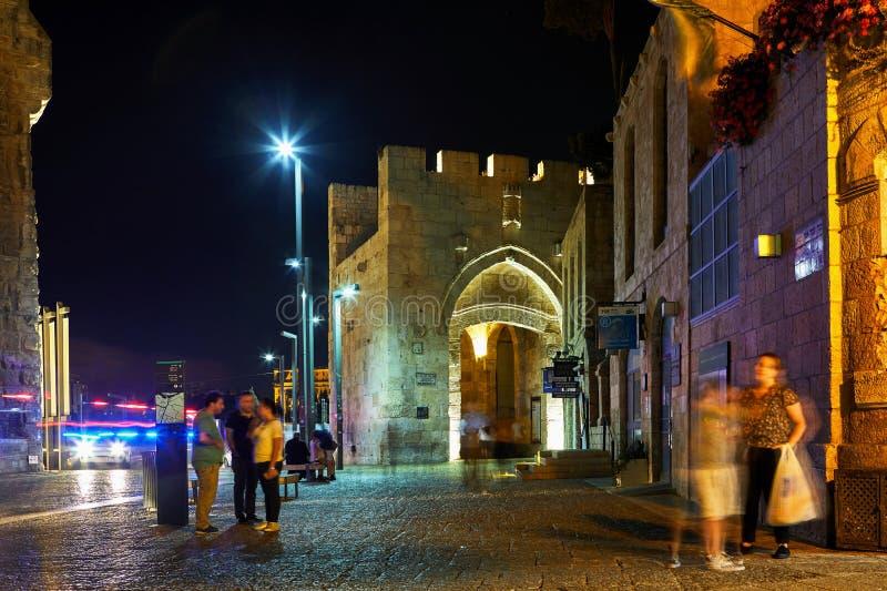 雅法门的看法在耶路撒冷 库存图片