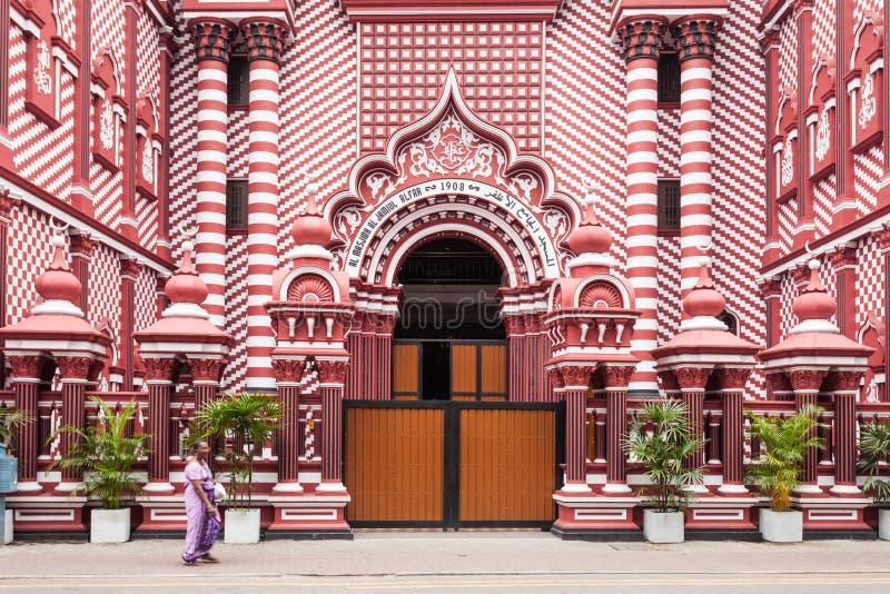 雅米UlAlfar红色清真寺,科伦坡 库存照片