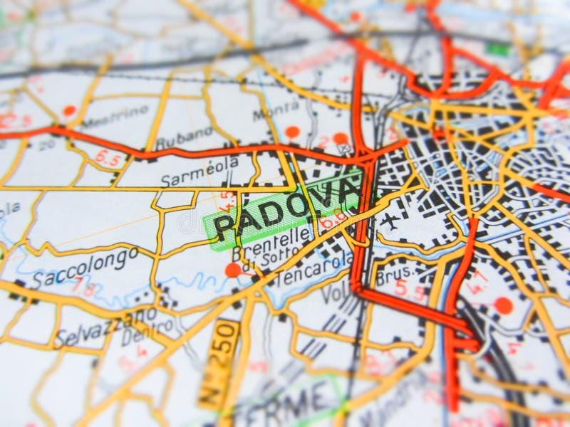 集中于在路线图的帕多瓦市意大利 库存照片
